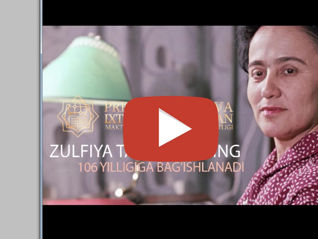 Zulfiya tavalludining 106 yilligi bag`ishlangan tabrik